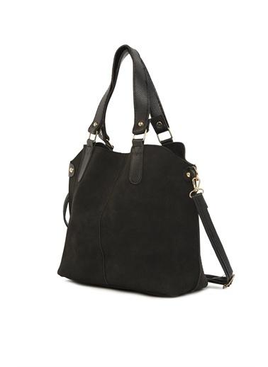 Bagmori Kadın Üç Bölmeli Çıtçıt Detaylı Nubuk Çanta M000003554 Siyah